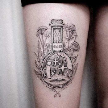 Alchemist's potion tattoo by Dogma Noir