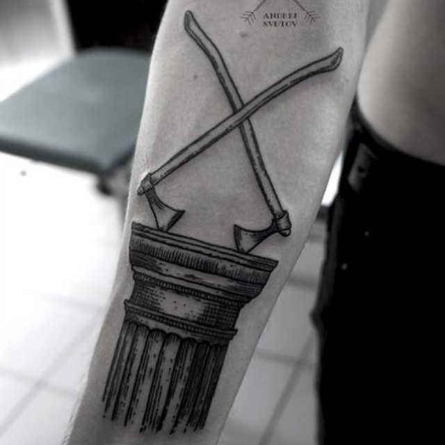 Axes and Doric order tattoo