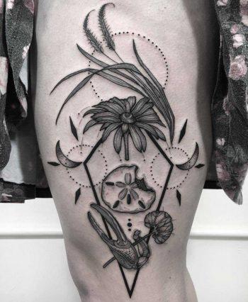 Beach stuff tattoo by Kim Deakins