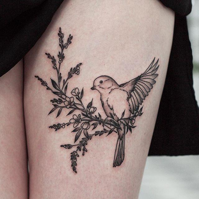 Bird on a branch by Olga Nekrasova