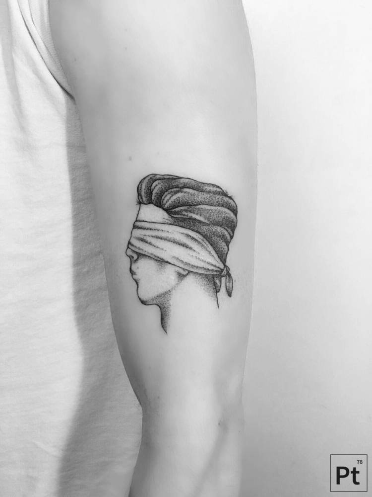 Blindfolded man tattoo by Pablo Torre