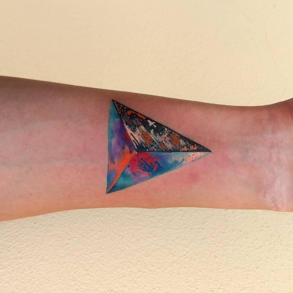 Colorful 3D triangle tattoo