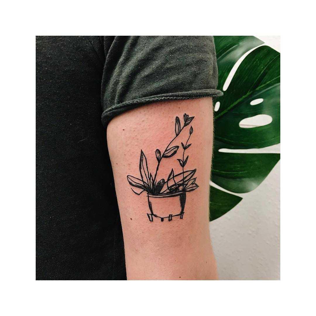 Cool minimalist flower pot tattoo