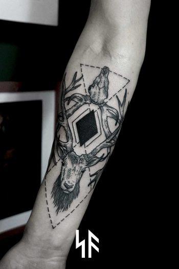 Deer and geometry tattoo by Andrei Svetov