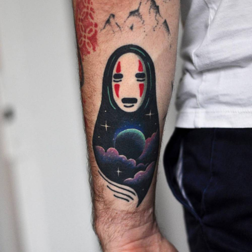 Double exposure Spirited Away tattoo