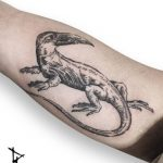 Engraving fantasy lizard tattoo by Loïc Lebeuf