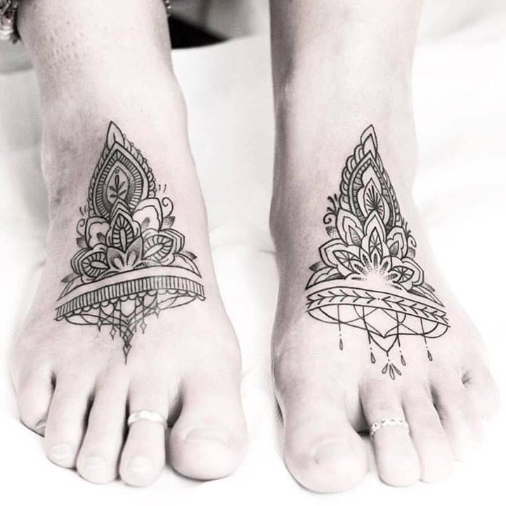 Feet ornament tattoos by Rach Ainsworth