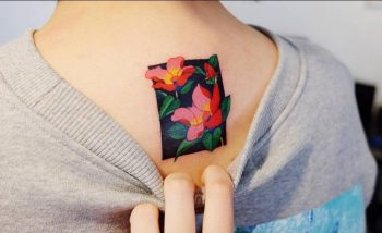 Floral rectangle tattoo on the back