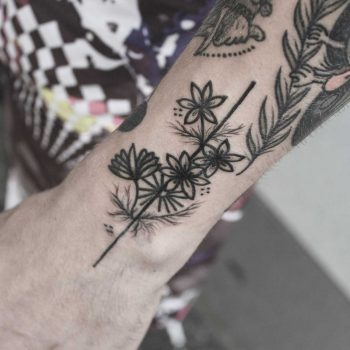 Flowers and line tattoo