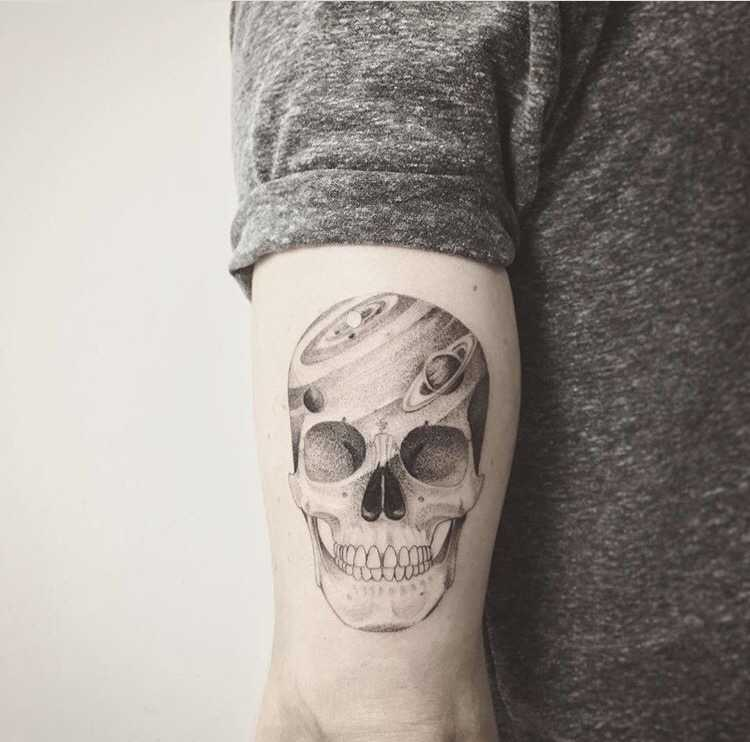 Galactic Skull Tattoo On The Triceps Tattoogridnet