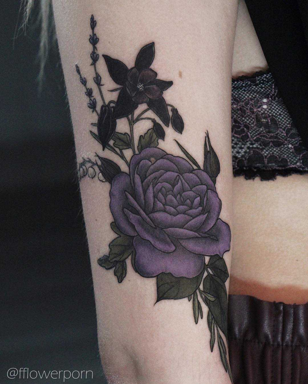 Garden rose, aquilegia, lavender, and lily of the valley tattoo