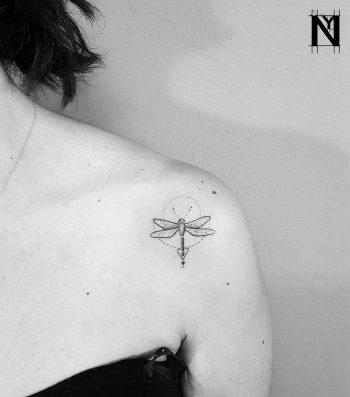 Geometric dragonfly tattoo