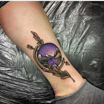 Landscape tattoo by Goldsmith Tattooer