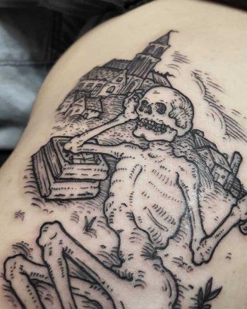 Lazy skeleton tattoo