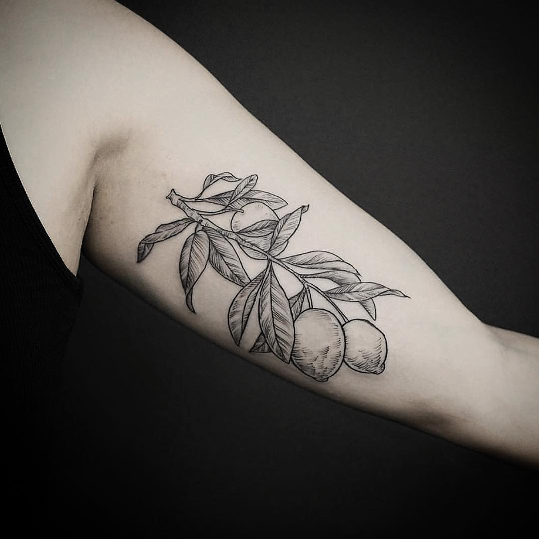 Lemon branch tattoo on the bicep