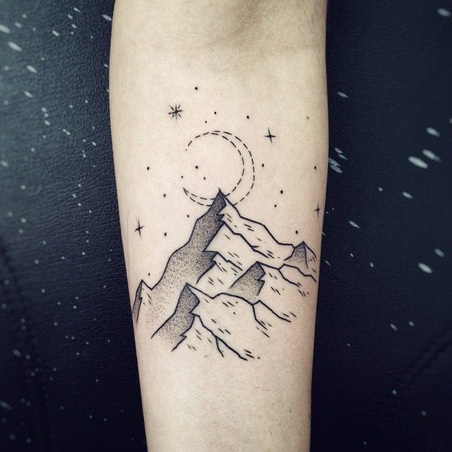 Linework mountains tattoo