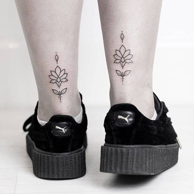Matching Lotus tattoos by Rach Ainsworth