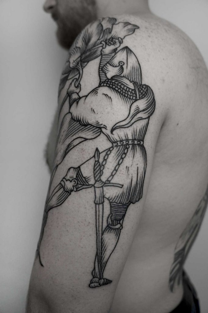 Medieval knight tattoo by Andrei Svetov
