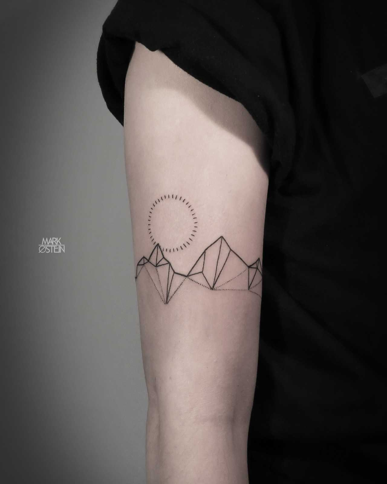 Minimalist geometric mountains tattoo - Tattoogrid.net
