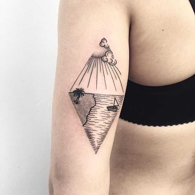 Minimalist landscape tattoo by Roma Severov