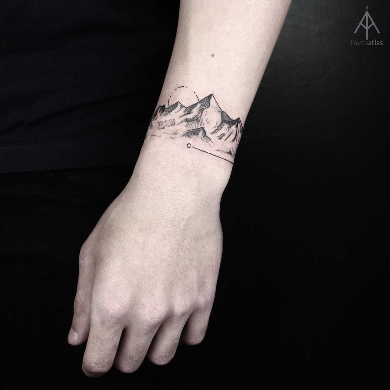 Mountain bracelet tattoo