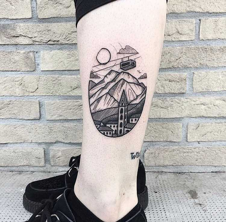 Mountains tattoo by Bombay Foor