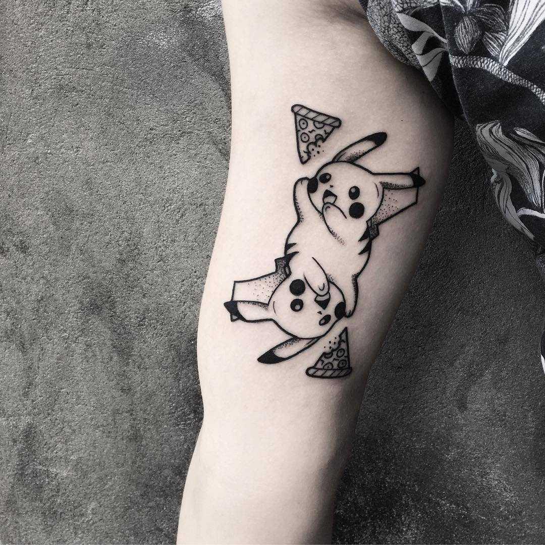 Pikachu and pizza tattoo by Oliwia Daszkiewicz