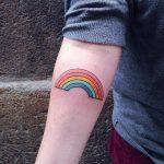 Rainbow tattoo on the forearm