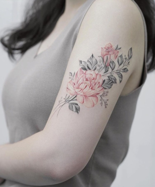 Red and grey flower tattoo