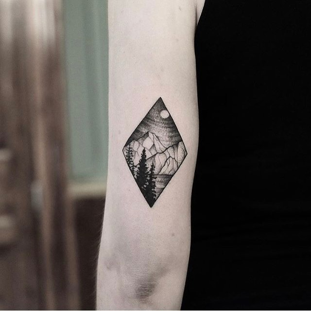 Rhombus landscape tattoo by Jonas Ribeiro