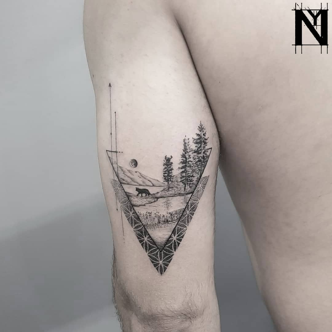 Sacred geometry and landscape tattoo