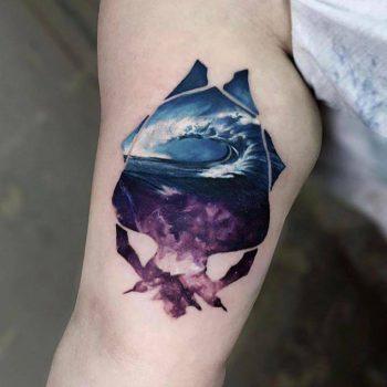 Sea and sky tattoo by Serkan Demirboğa