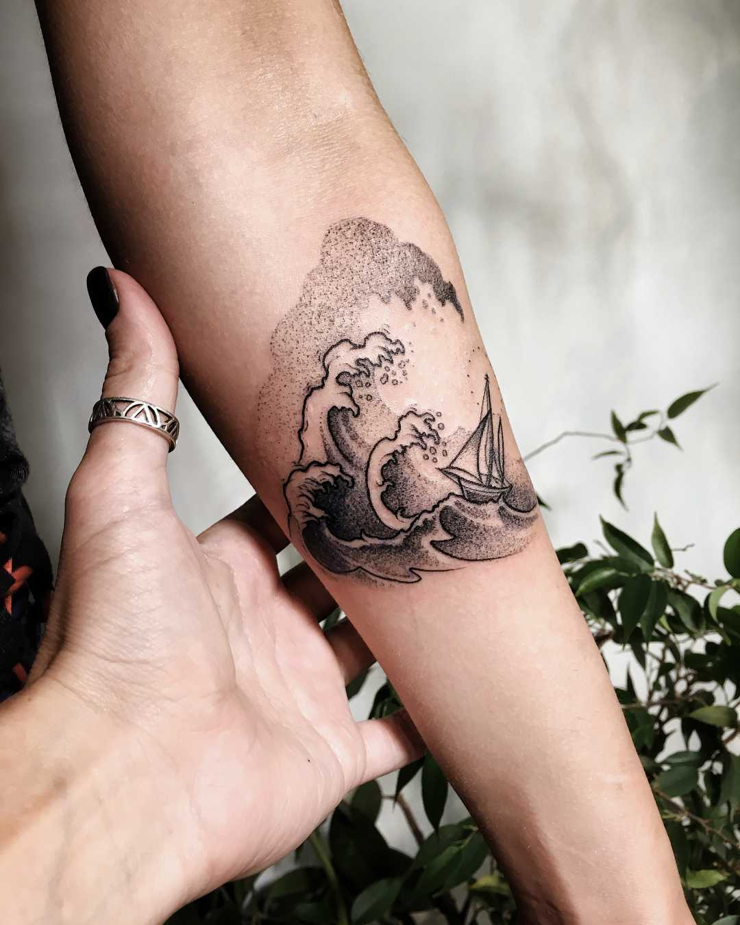 Ship in a sea tattoo by Sasha Kiseleva