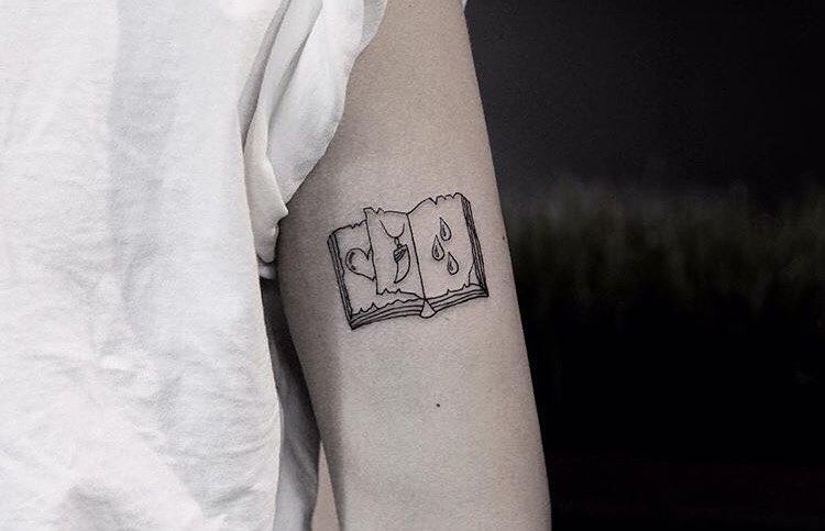 Small open book tattoo
