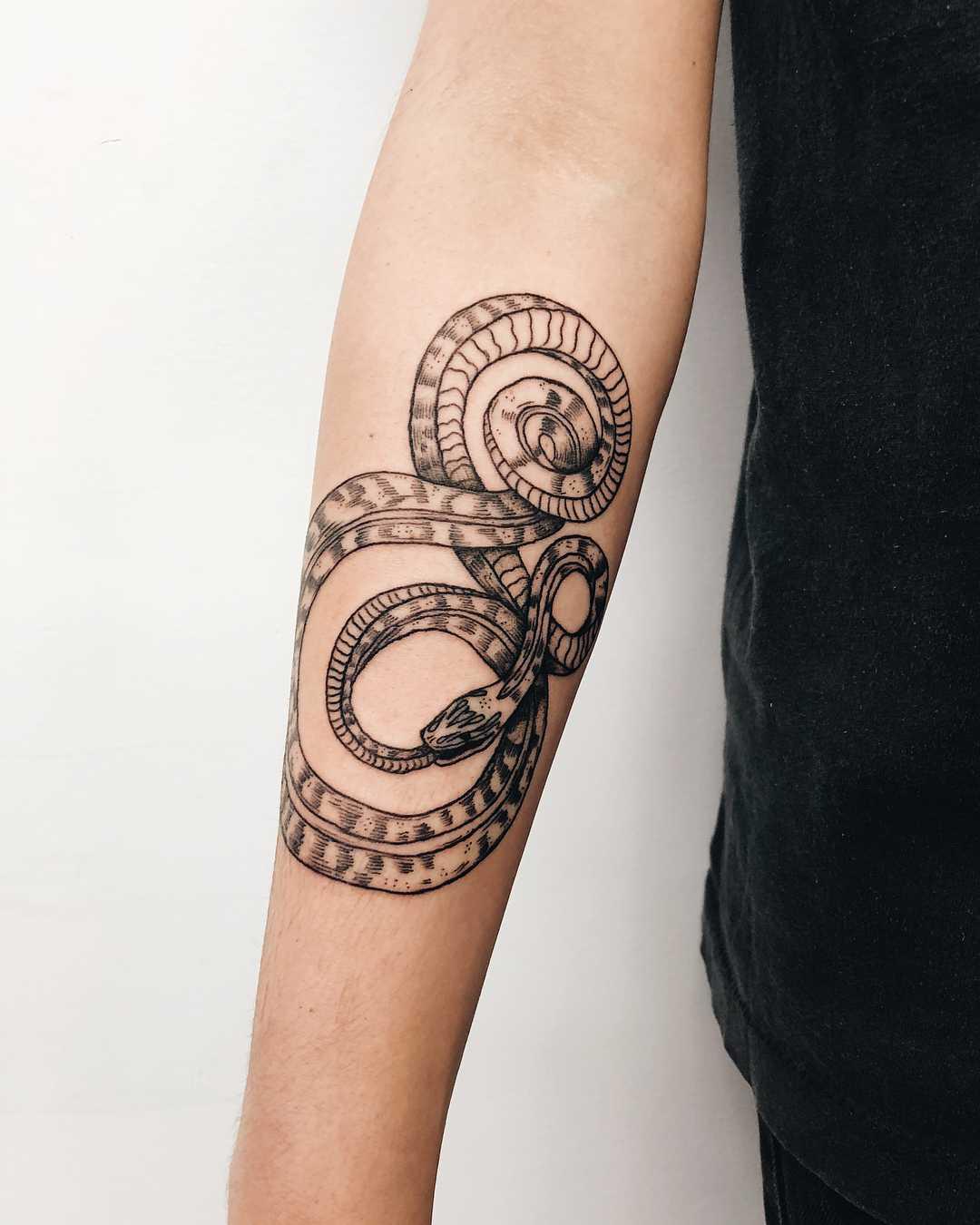 Snake tattoo on a forearm by Finley Jordan