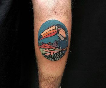 Toucan tattoo by Eugene Nedelko