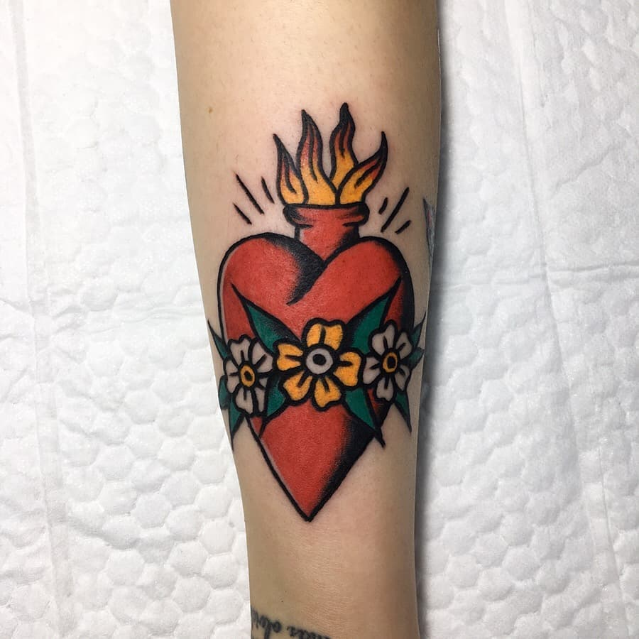 Traditional sacred heart tattoo