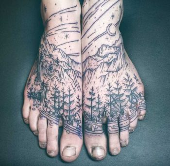 Trees and mountains tattoo by Noelle Longhaul
