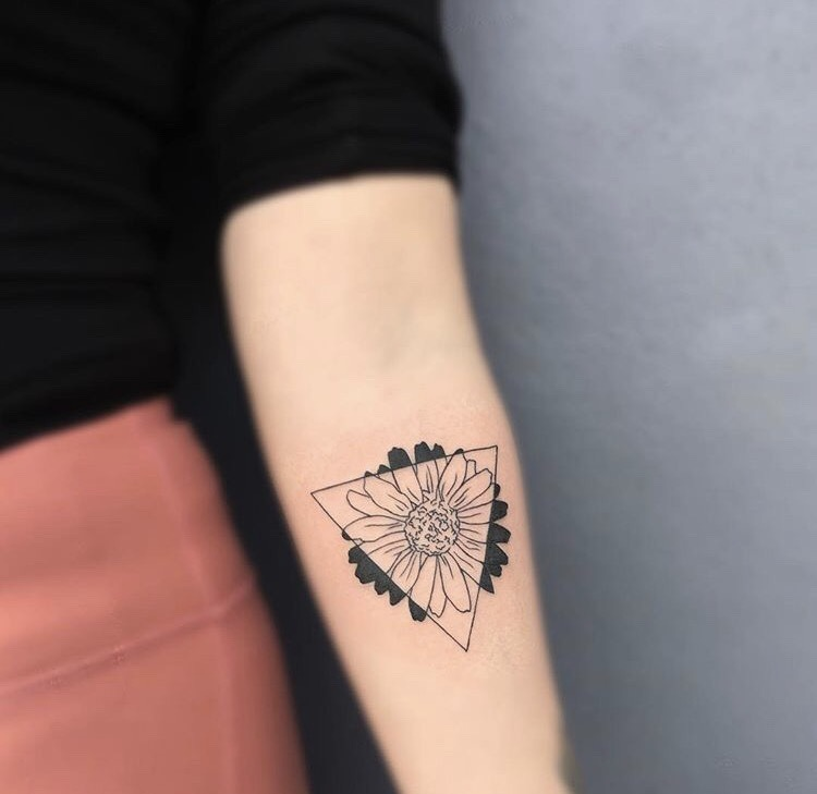 Triangle and flower tattoo by Koala Inkaholik