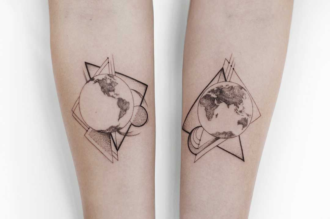 Whole world and geometrics tattoo