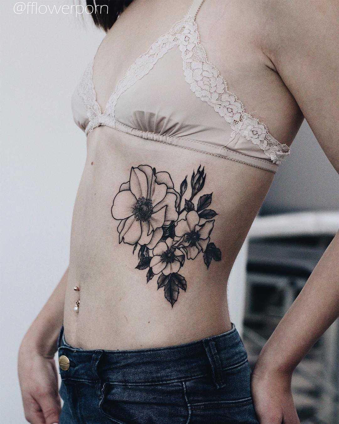 Anemone and wild roses tattoo