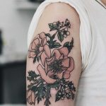 Anemones, apple blossoms, and rosemary tattoo
