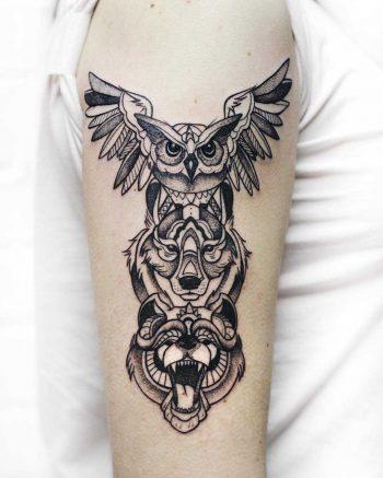 Animal spirit totem tattoo by Sasha Kiseleva