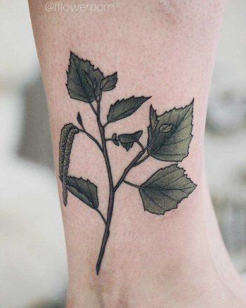 Birch branch tattoo on ankle
