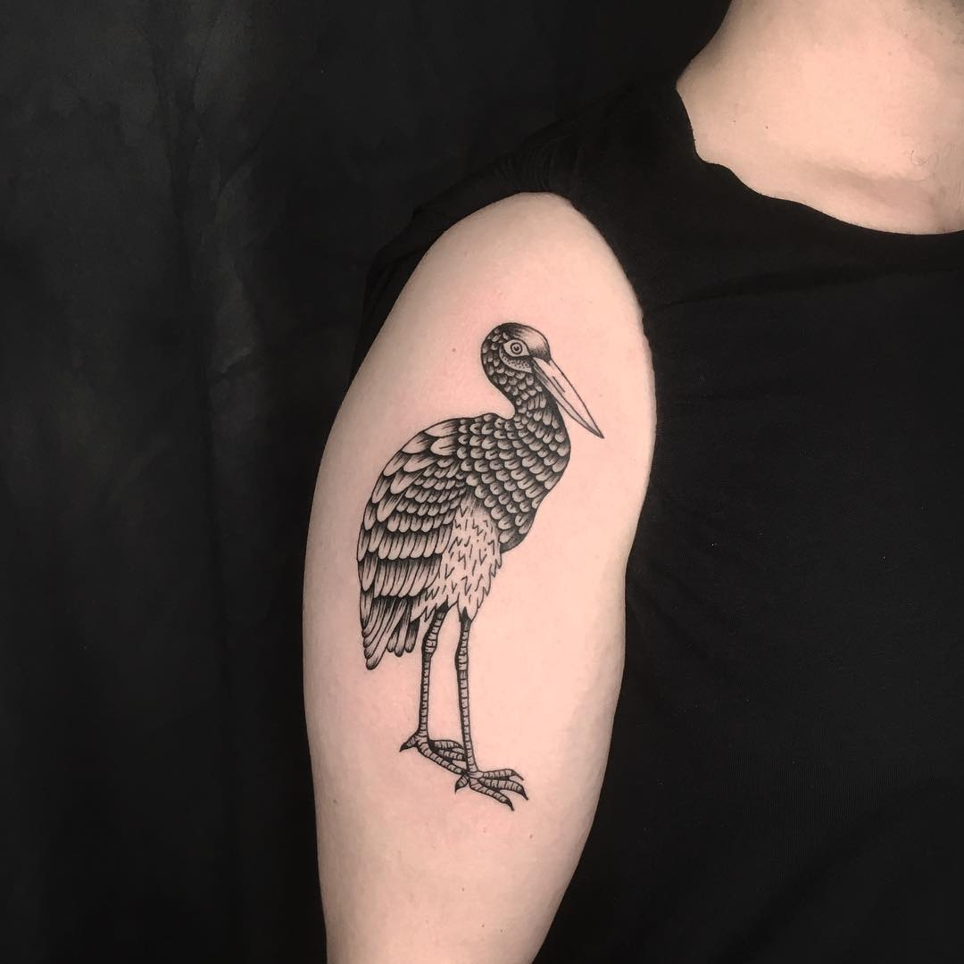 Blackwork stork tattoo by Yakes