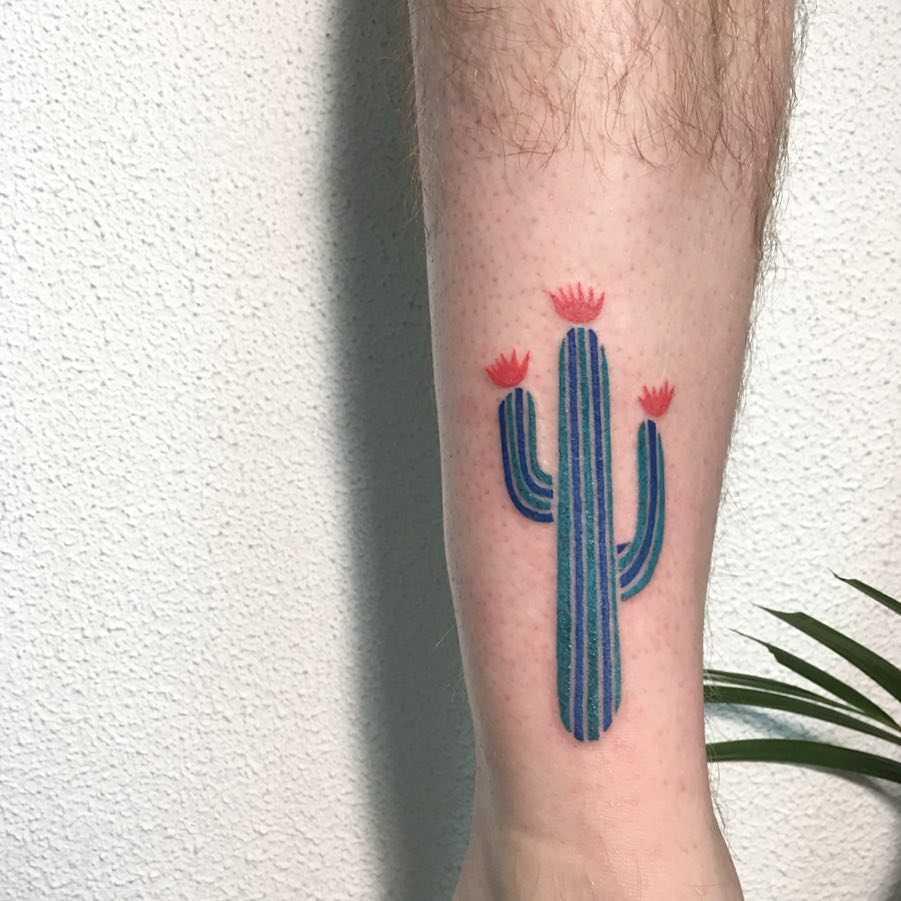 Blue cactus tattoo by Agata Agataris