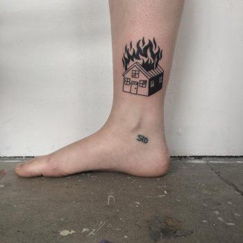 Burning house tattoo by tattooist yeahdope