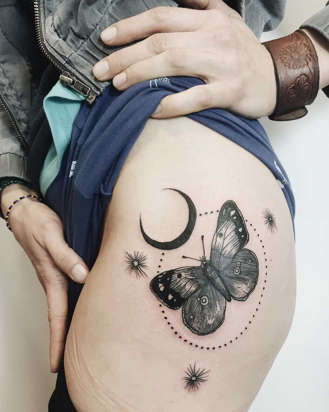 Butterfly and crescent moon by Finley Jordan