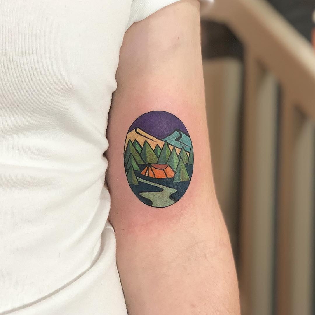 Camping tattoo by Eugene Dusty Past