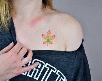 Chestnut leaf tattoo by Valeria Yarmola